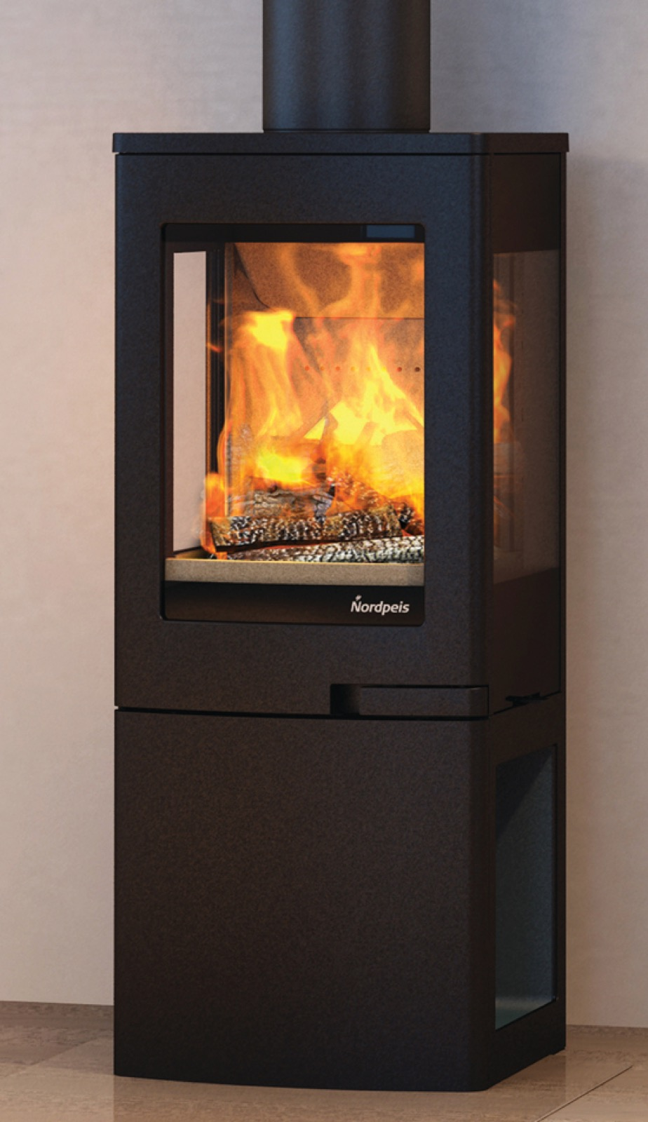 Nordpeis Uno 2 Wood Burning Stove With Log Store Base With